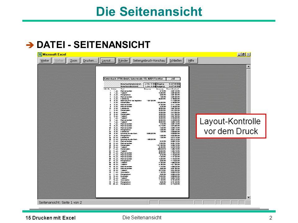 Die Seitenansicht DATEI - SEITENANSICHT Layout-Kontrolle vor dem Druck