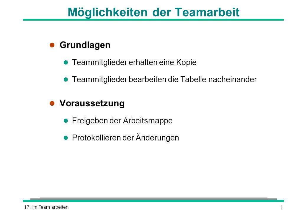 Möglichkeiten der Teamarbeit