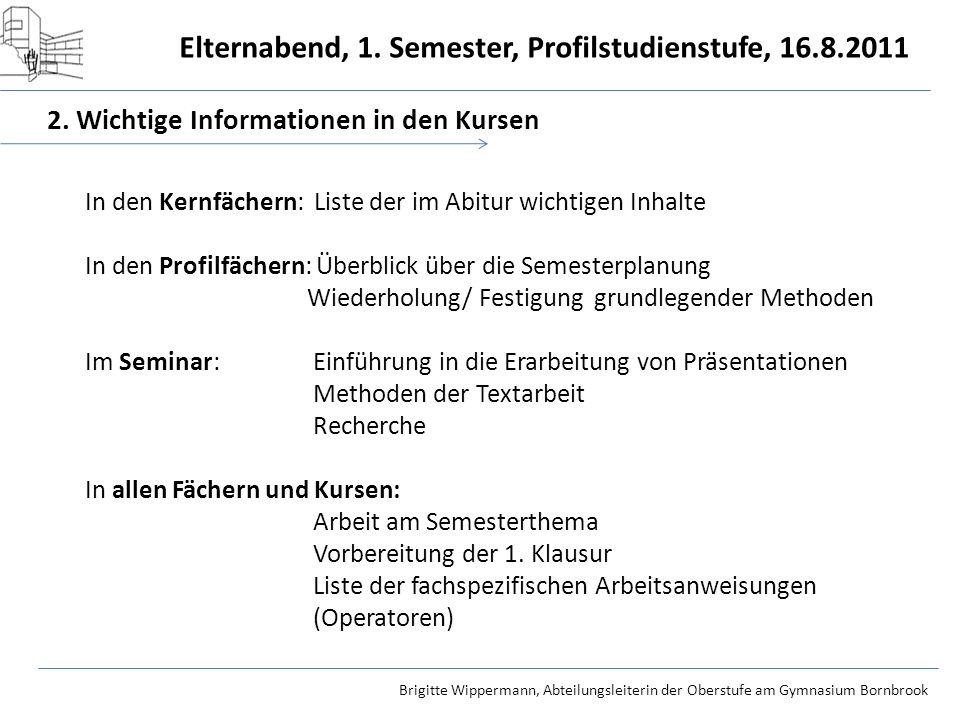 2. Wichtige Informationen in den Kursen