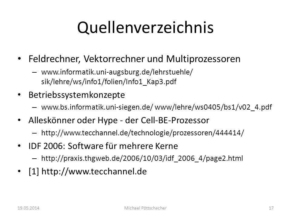 Quellenverzeichnis Feldrechner, Vektorrechner und Multiprozessoren