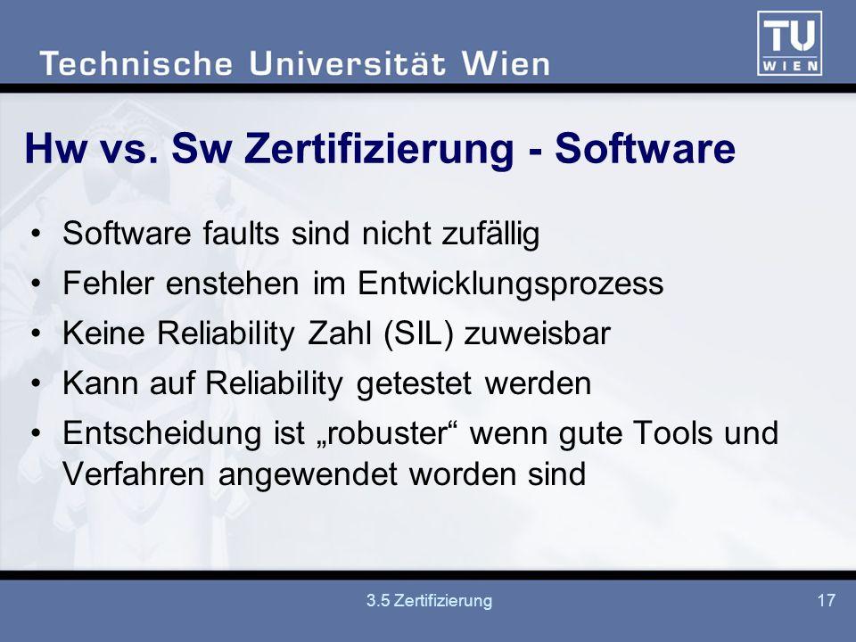 Hw vs. Sw Zertifizierung - Software