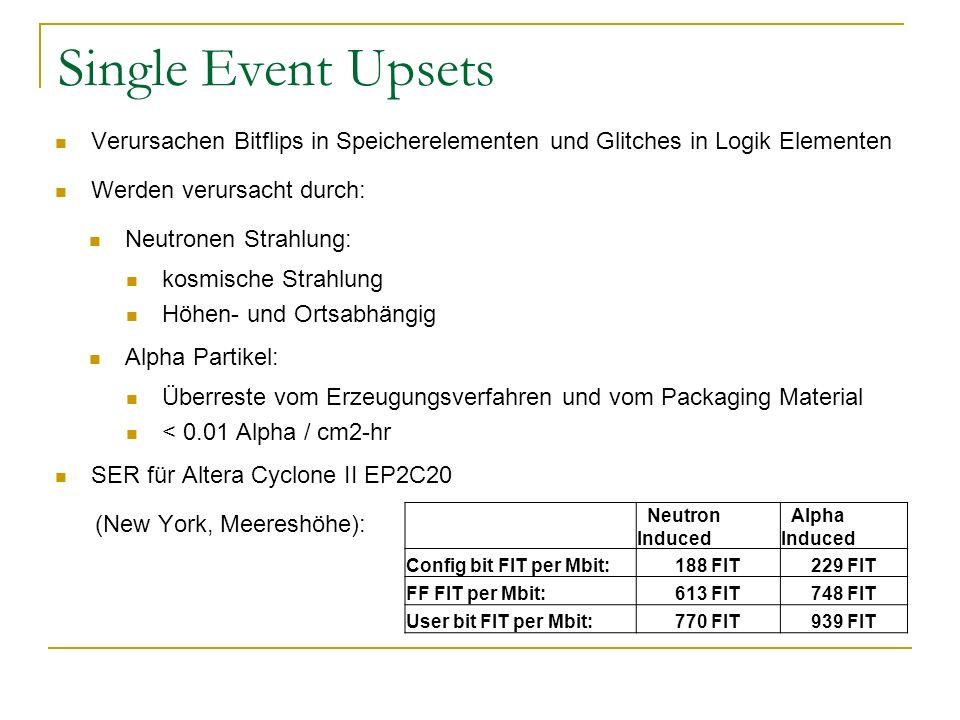 Single Event Upsets Verursachen Bitflips in Speicherelementen und Glitches in Logik Elementen. Werden verursacht durch: