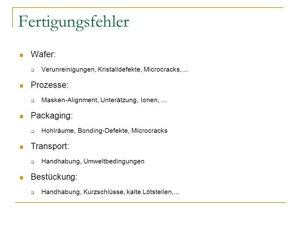 Fertigungsfehler Wafer: Prozesse: Packaging: Transport: Bestückung: