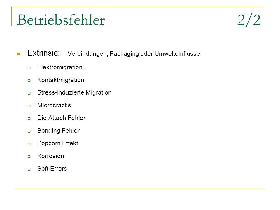 Betriebsfehler 2/2 Extrinsic: Verbindungen, Packaging oder Umwelteinflüsse. Elektromigration.