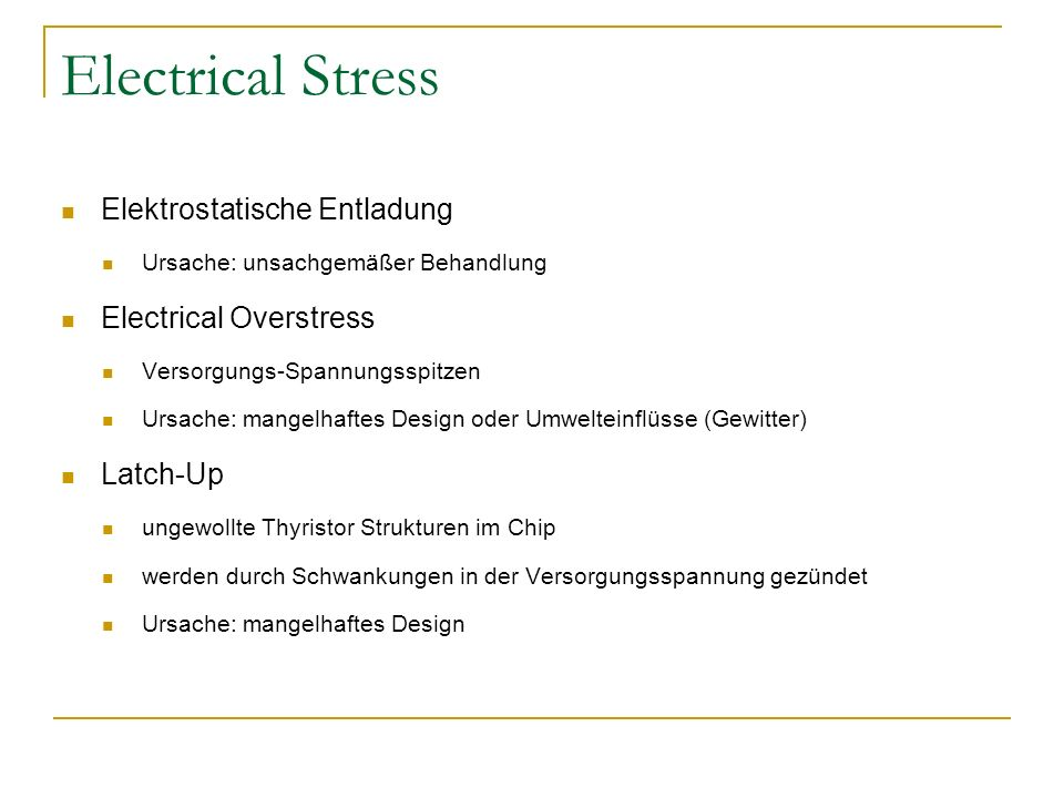 Electrical Stress Elektrostatische Entladung Electrical Overstress