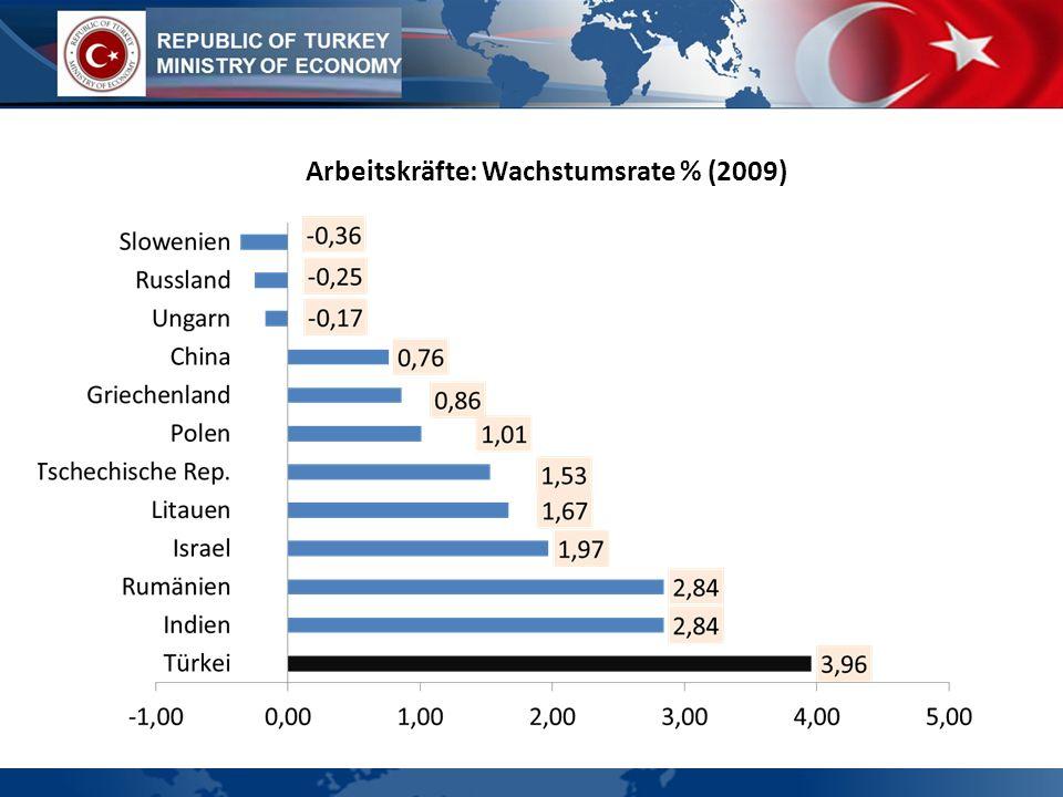 Arbeitskräfte: Wachstumsrate % (2009)