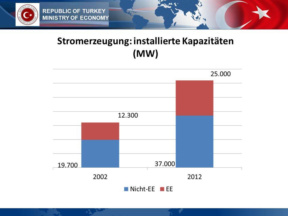 Stromerzeugung: installierte Kapazitäten