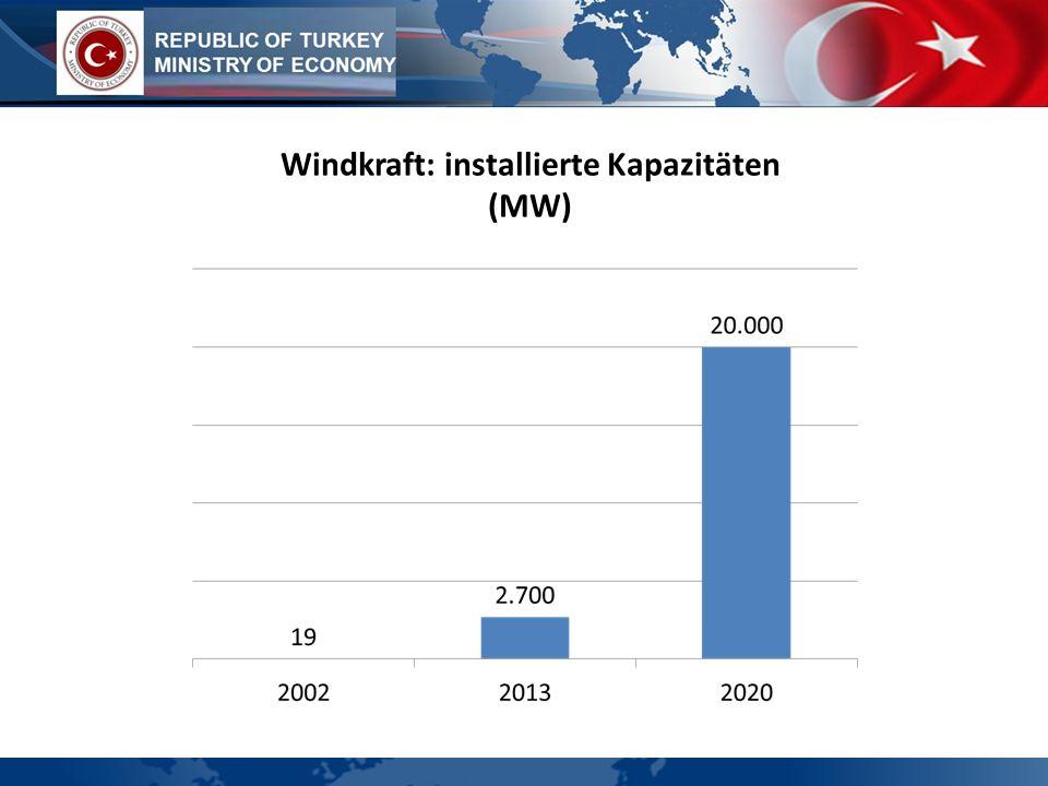 Windkraft: installierte Kapazitäten