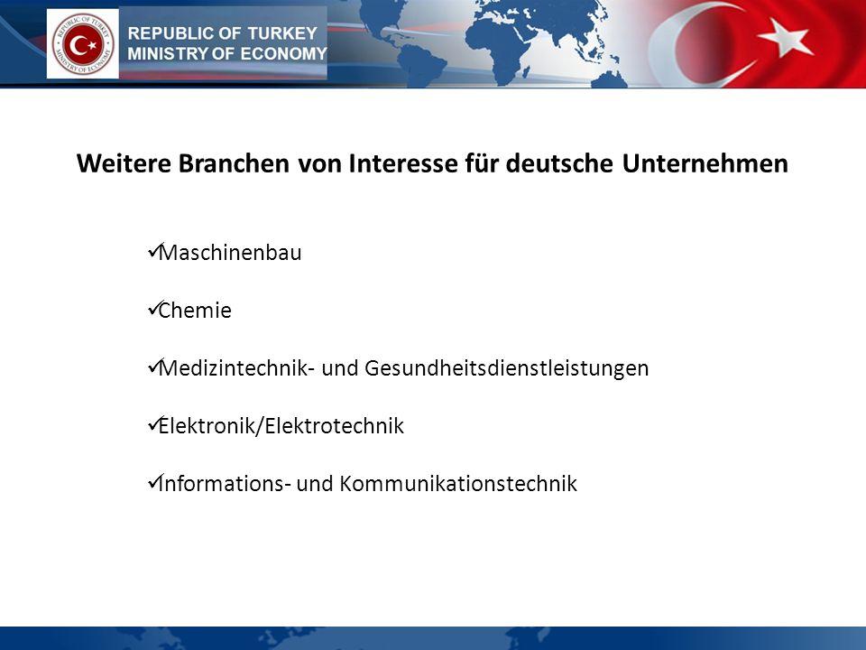 Weitere Branchen von Interesse für deutsche Unternehmen