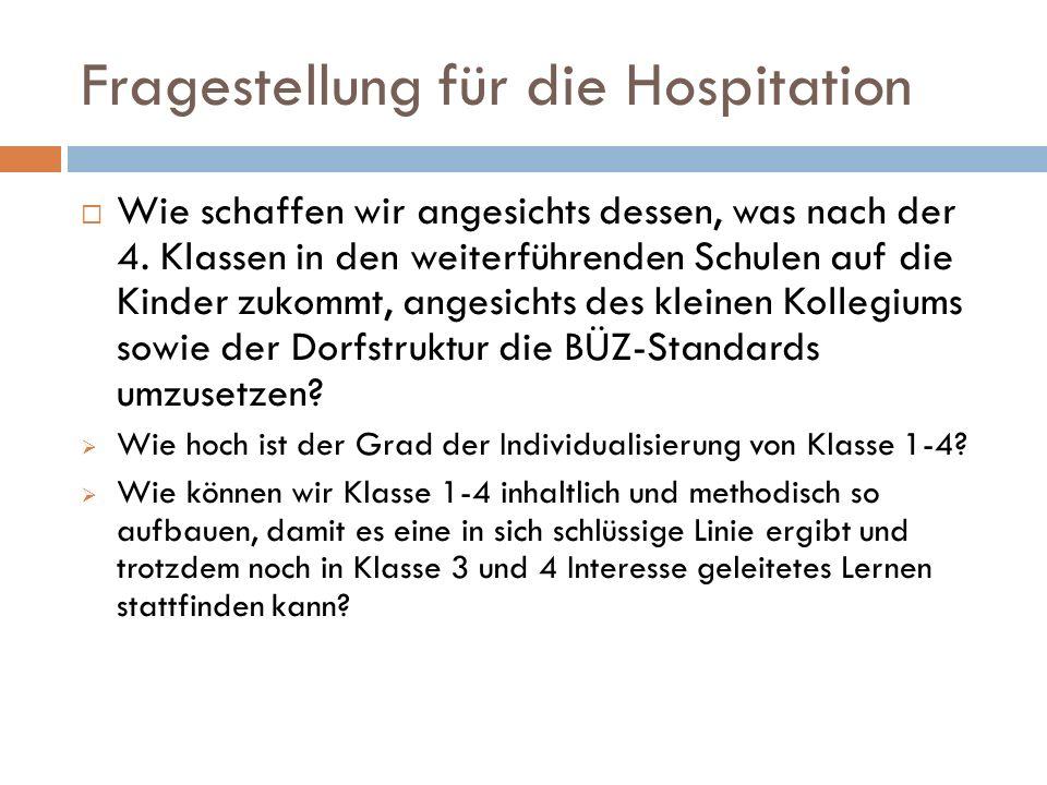 Fragestellung für die Hospitation