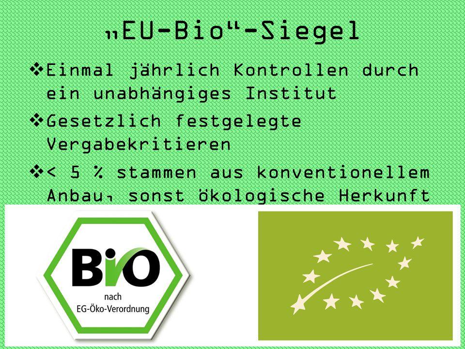 """""""EU-Bio -Siegel Einmal jährlich Kontrollen durch ein unabhängiges Institut. Gesetzlich festgelegte Vergabekritieren."""