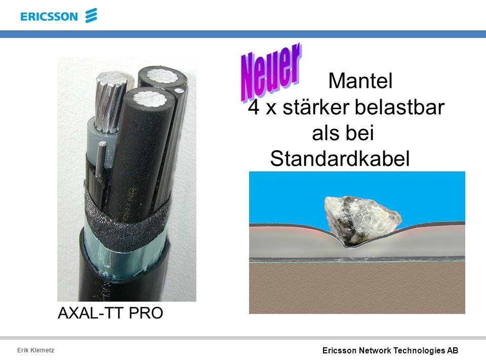 Mantel 4 x stärker belastbar als bei Standardkabel