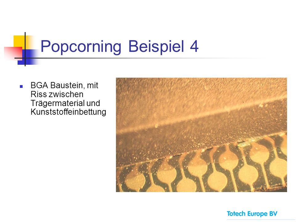 Popcorning Beispiel 4 BGA Baustein, mit Riss zwischen Trägermaterial und Kunststoffeinbettung