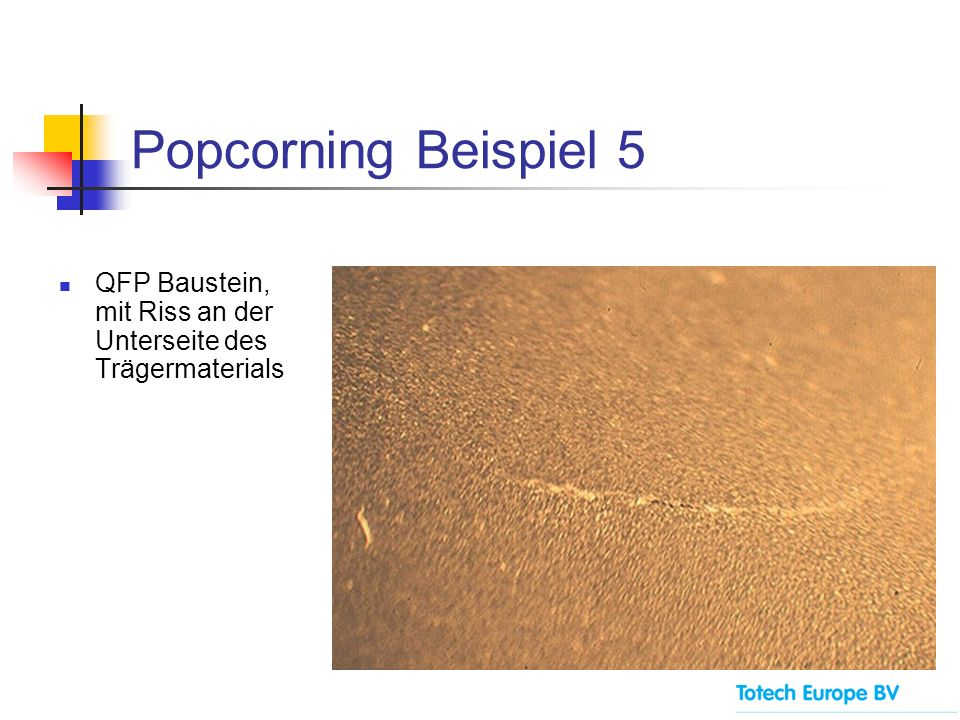 Popcorning Beispiel 5 QFP Baustein, mit Riss an der Unterseite des Trägermaterials