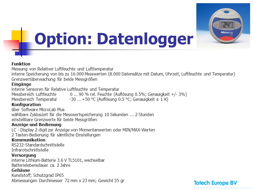 Option: Datenlogger Funktion