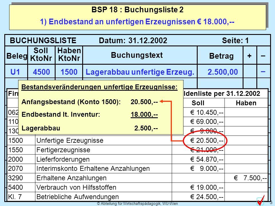 1) Endbestand an unfertigen Erzeugnissen € 18.000,--