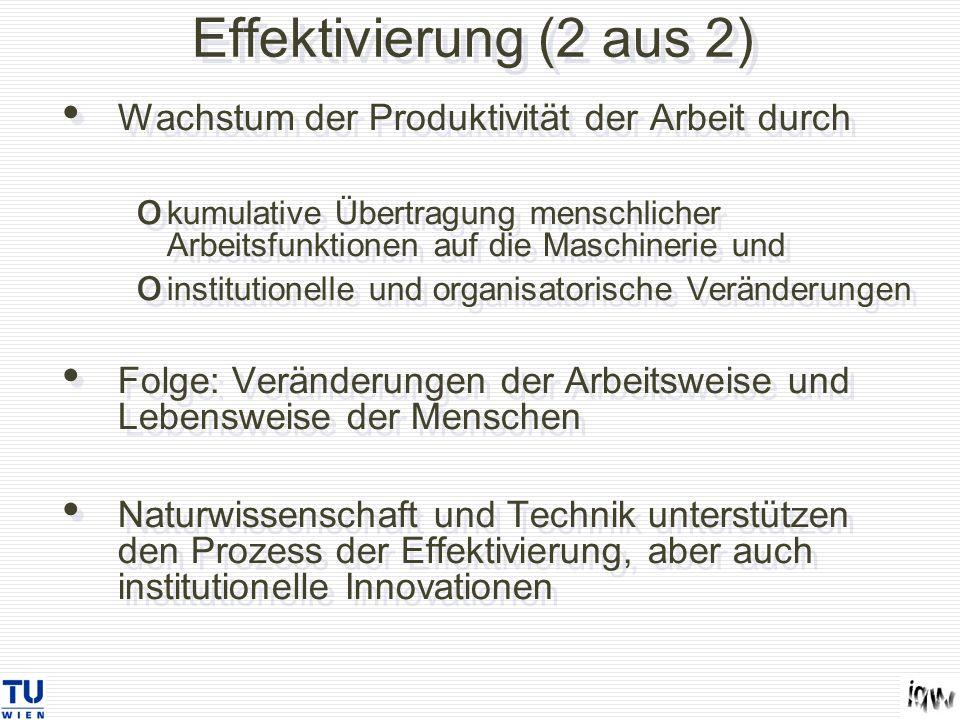 Effektivierung (2 aus 2) Wachstum der Produktivität der Arbeit durch