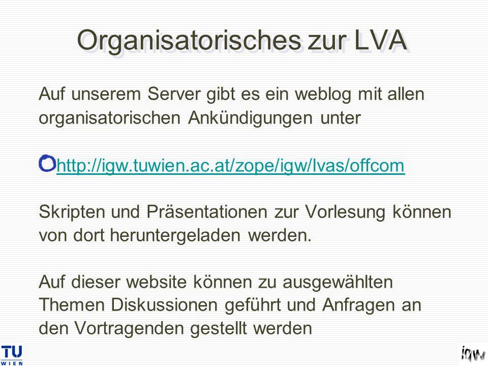Organisatorisches zur LVA