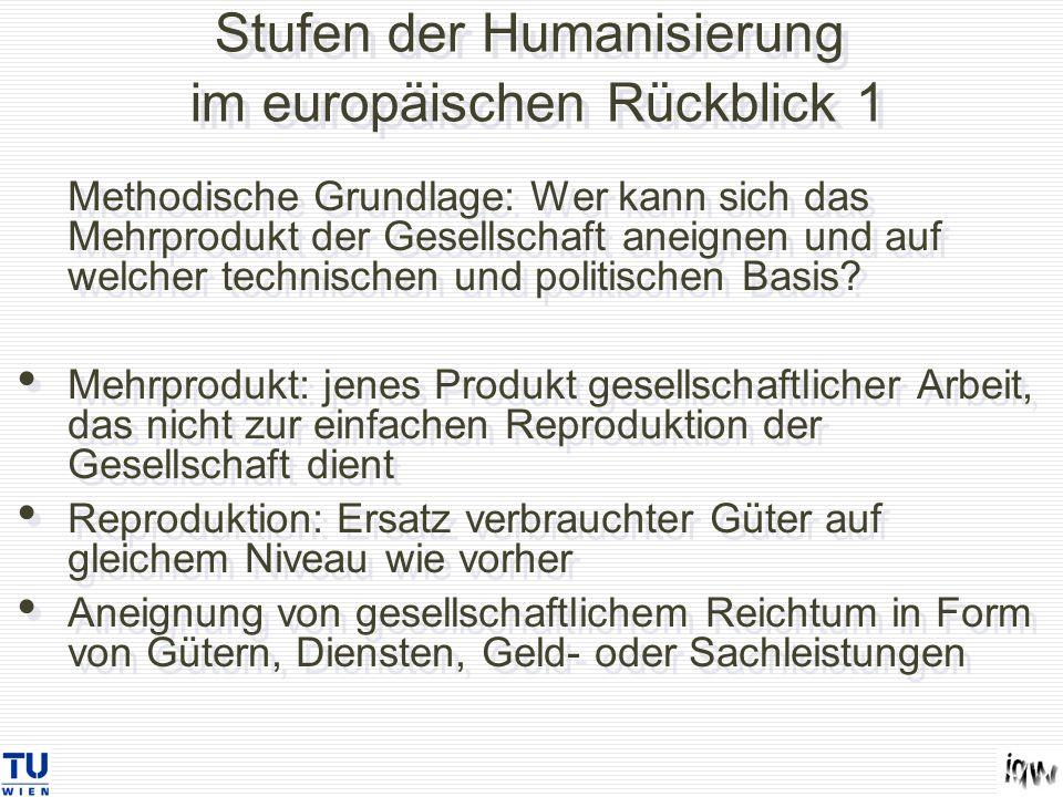 Stufen der Humanisierung im europäischen Rückblick 1