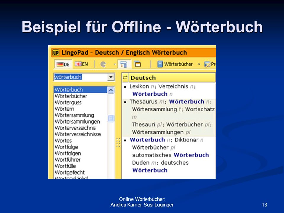 Beispiel für Offline - Wörterbuch