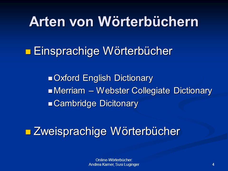 Arten von Wörterbüchern