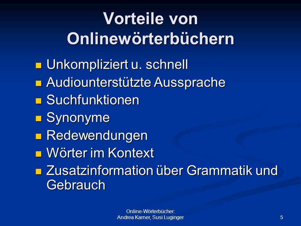 Vorteile von Onlinewörterbüchern