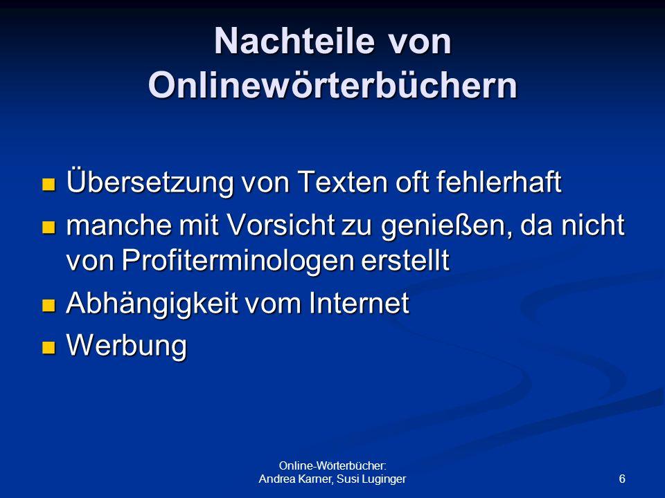 Nachteile von Onlinewörterbüchern
