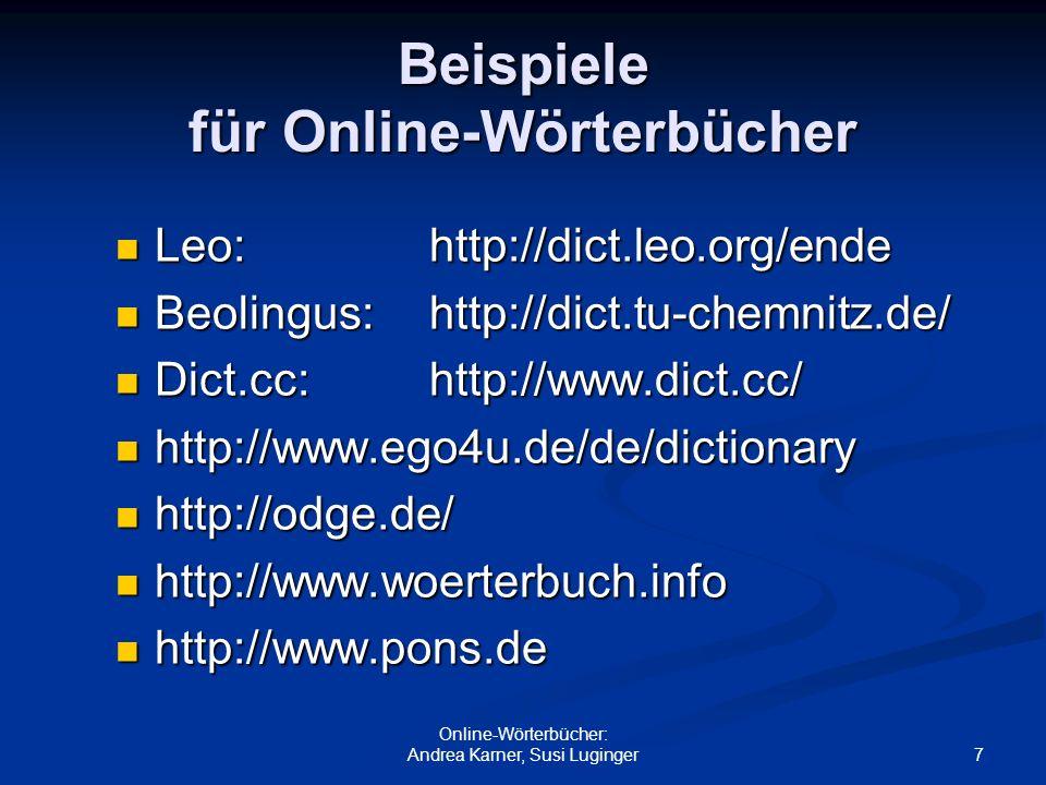 Beispiele für Online-Wörterbücher
