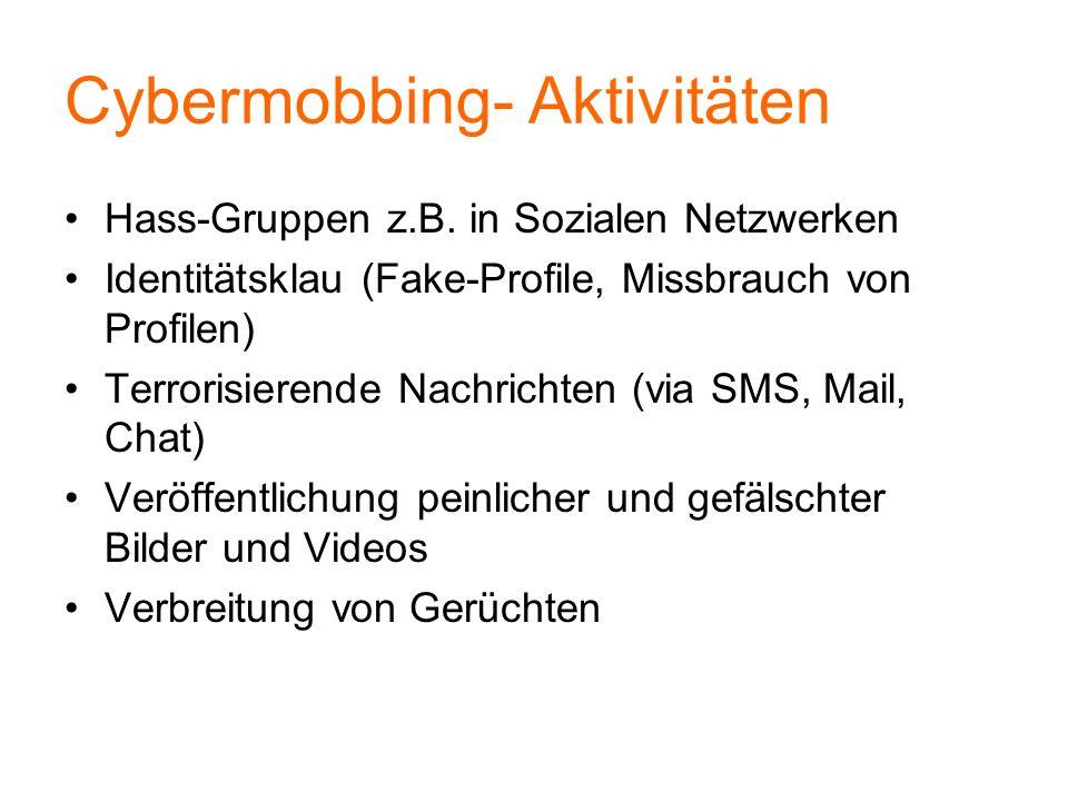Cybermobbing- Aktivitäten