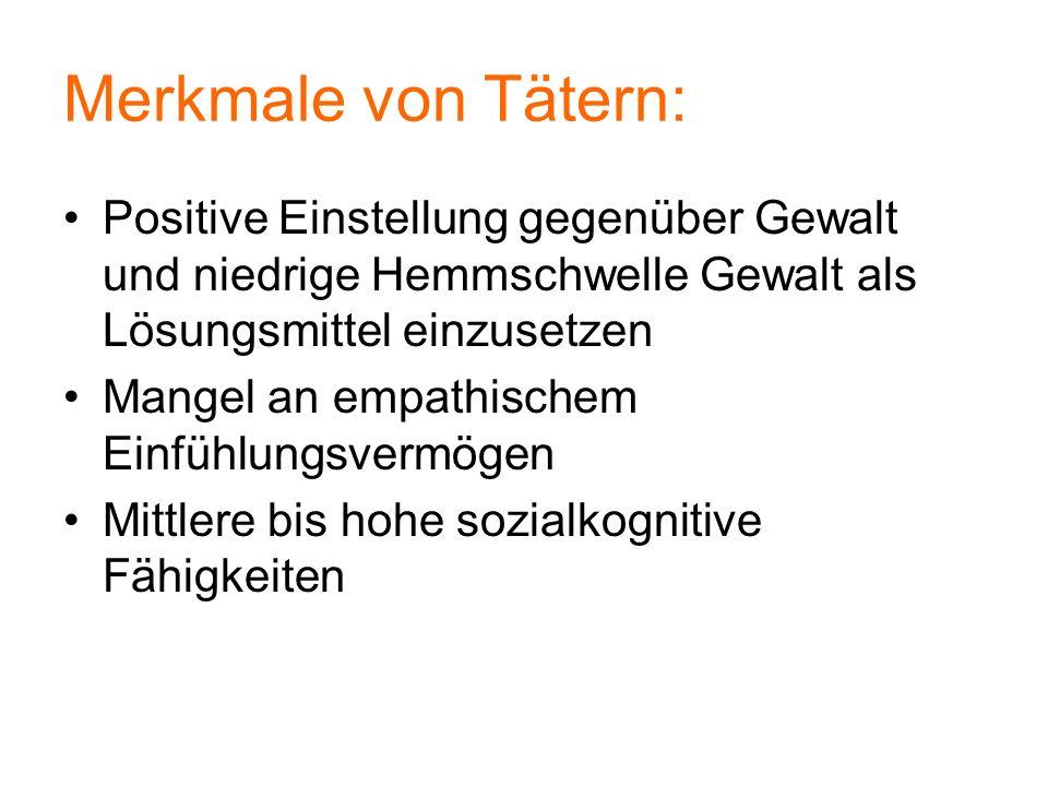 Merkmale von Tätern: Positive Einstellung gegenüber Gewalt und niedrige Hemmschwelle Gewalt als Lösungsmittel einzusetzen.