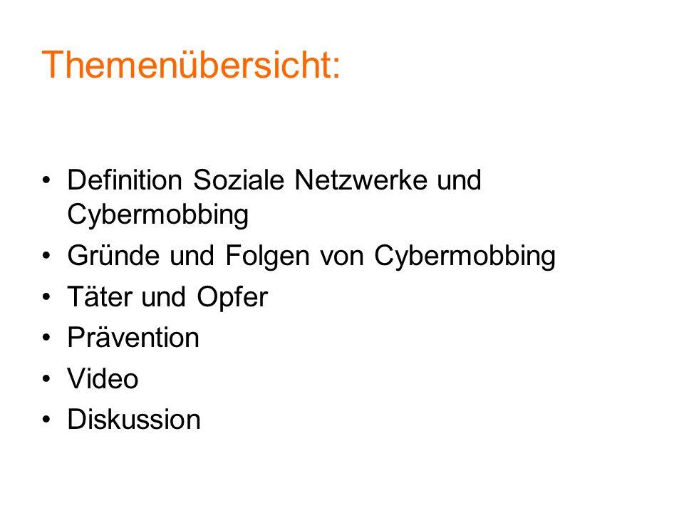 Themenübersicht: Definition Soziale Netzwerke und Cybermobbing
