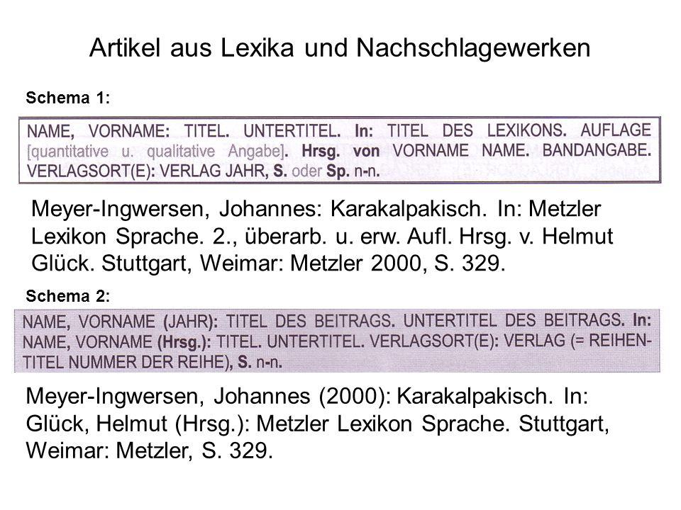 Artikel aus Lexika und Nachschlagewerken