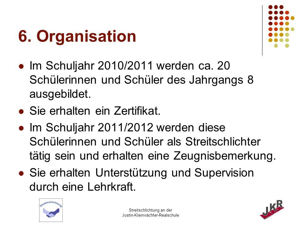 6. Organisation Im Schuljahr 2010/2011 werden ca. 20 Schülerinnen und Schüler des Jahrgangs 8 ausgebildet.