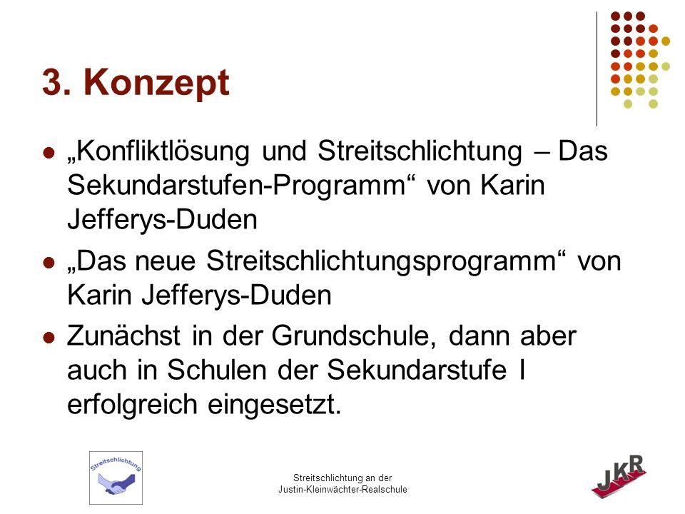 """3. Konzept """"Konfliktlösung und Streitschlichtung – Das Sekundarstufen-Programm von Karin Jefferys-Duden."""