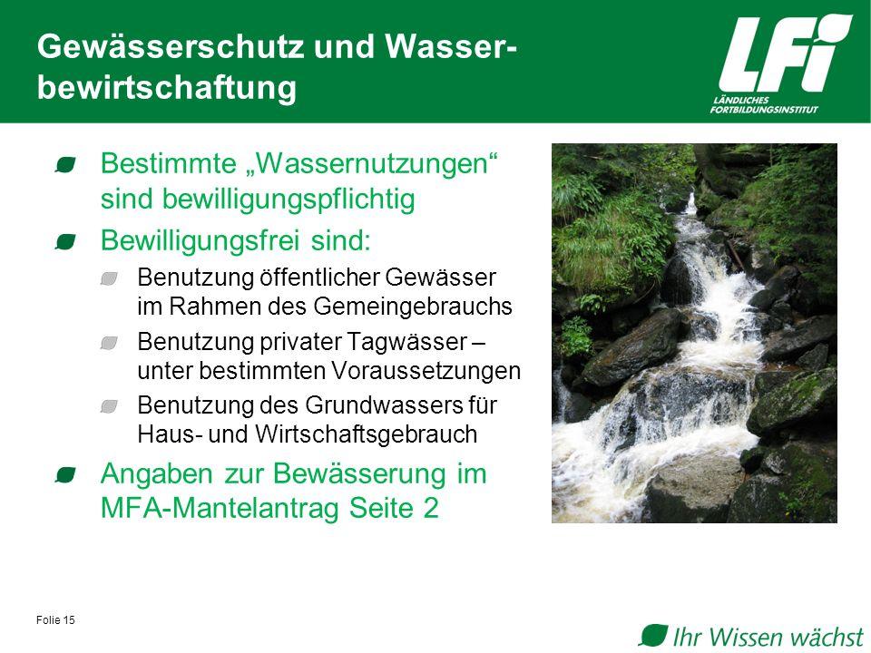 Gewässerschutz und Wasser-bewirtschaftung