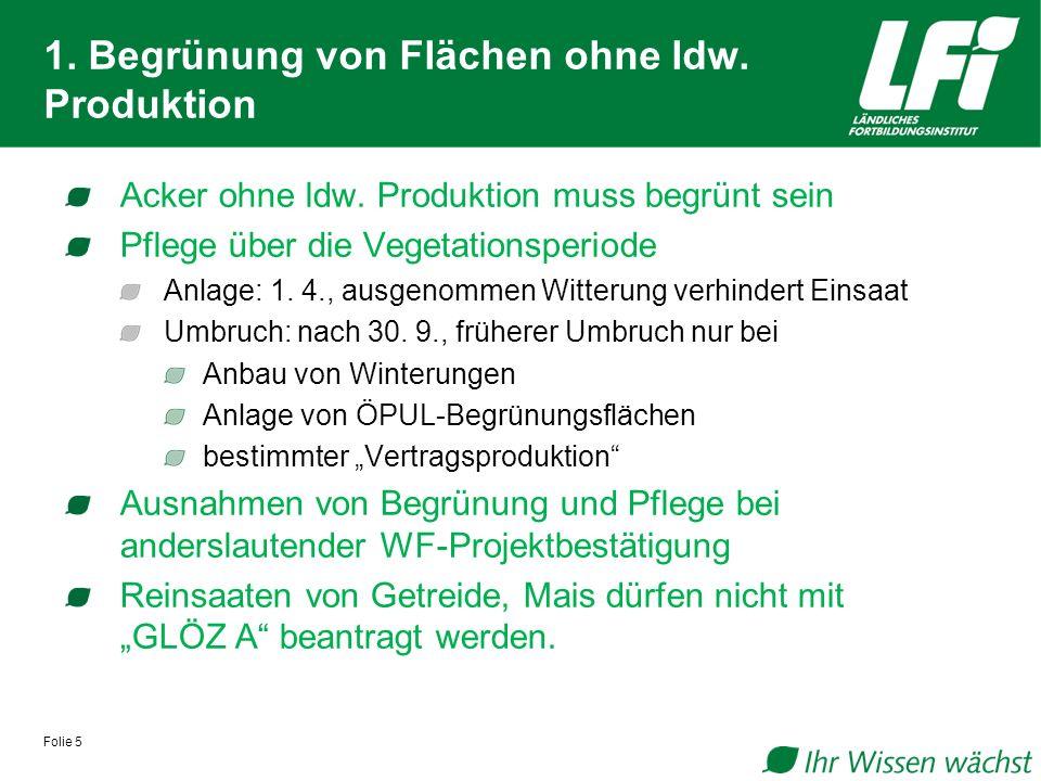 1. Begrünung von Flächen ohne ldw. Produktion