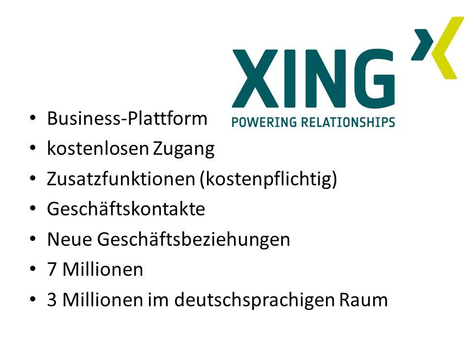 Business-Plattform kostenlosen Zugang. Zusatzfunktionen (kostenpflichtig) Geschäftskontakte. Neue Geschäftsbeziehungen.