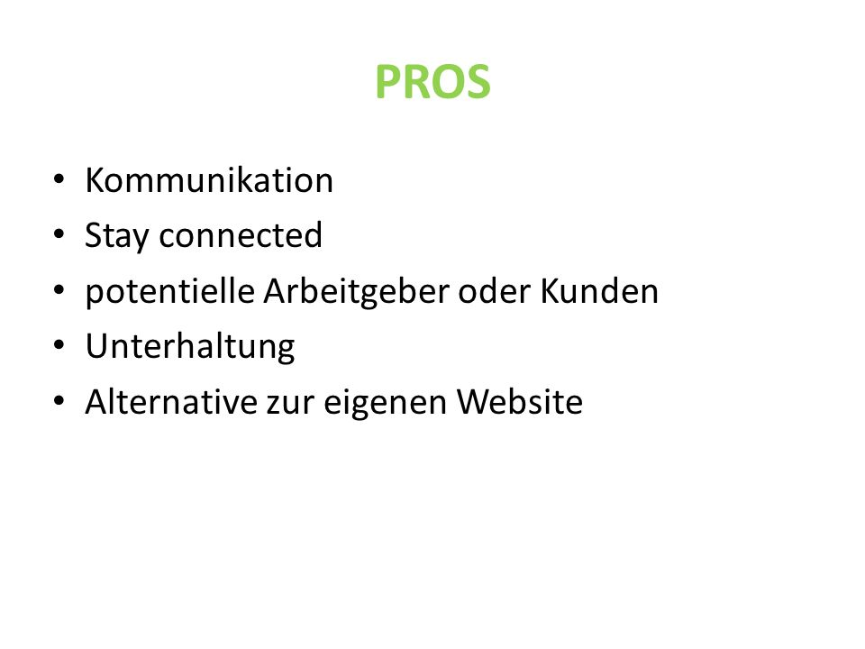 PROS Kommunikation Stay connected potentielle Arbeitgeber oder Kunden