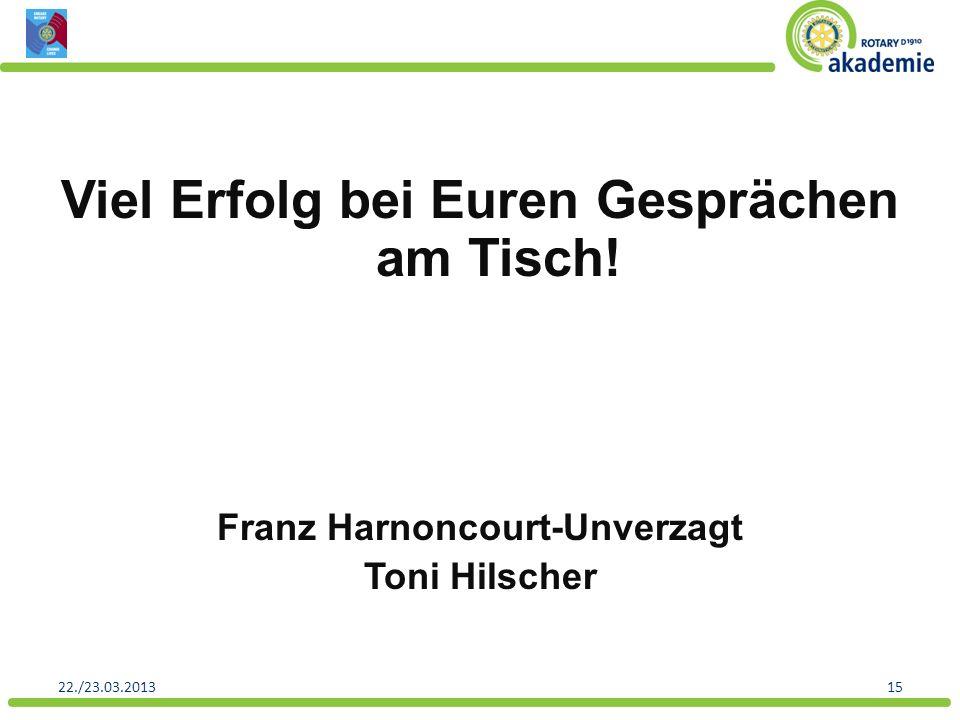 Viel Erfolg bei Euren Gesprächen am Tisch! Franz Harnoncourt-Unverzagt