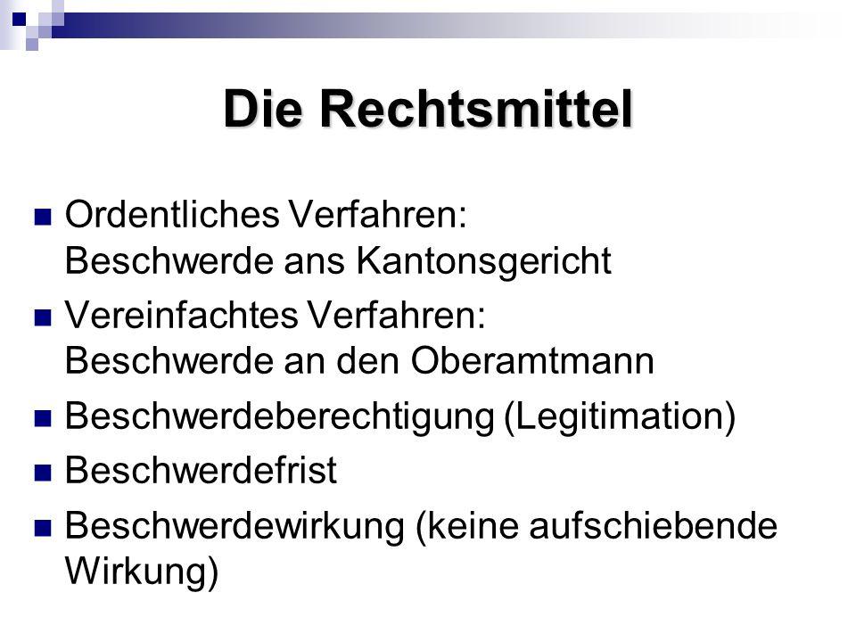 Die Rechtsmittel Ordentliches Verfahren: Beschwerde ans Kantonsgericht