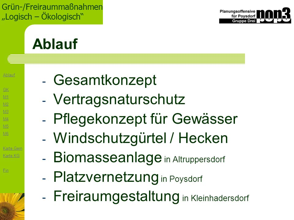 Ablauf Gesamtkonzept. Vertragsnaturschutz. Pflegekonzept für Gewässer. Windschutzgürtel / Hecken.