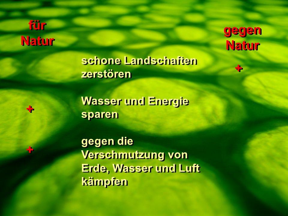 für Natur gegen Natur + + + schone Landschaften zerstören
