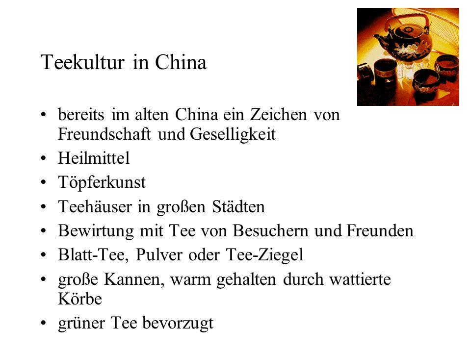 Teekultur in China bereits im alten China ein Zeichen von Freundschaft und Geselligkeit. Heilmittel.