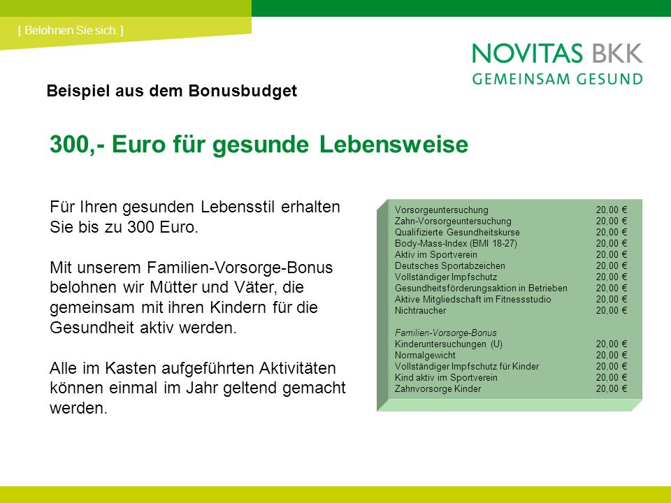 300,- Euro für gesunde Lebensweise