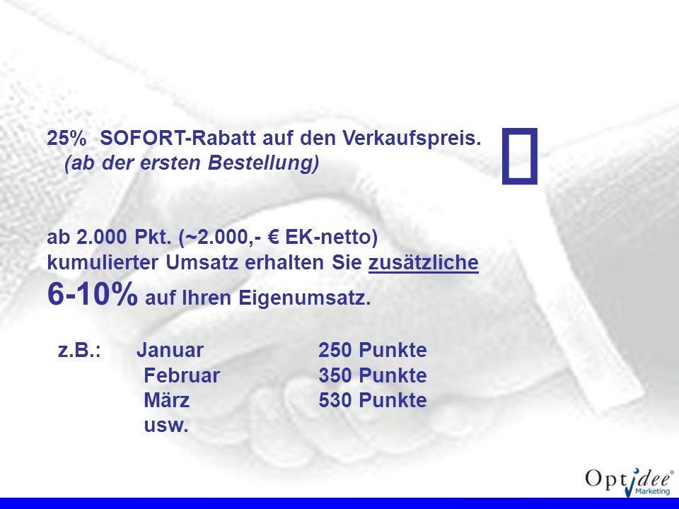 € 6-10% auf Ihren Eigenumsatz.