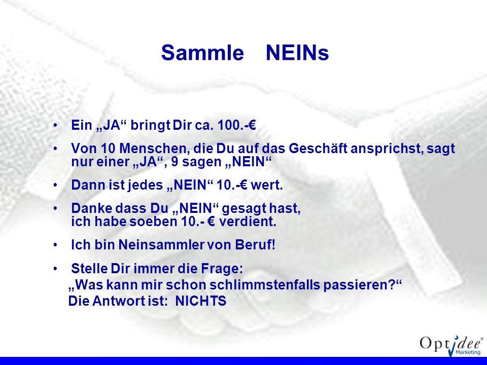 """Sammle NEINs Ein """"JA bringt Dir ca. 100.-€"""
