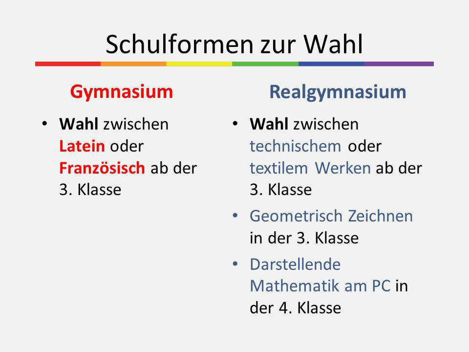 Schulformen zur Wahl Realgymnasium Gymnasium