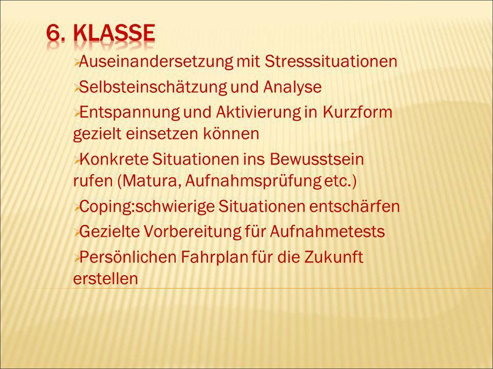 6. Klasse Auseinandersetzung mit Stresssituationen