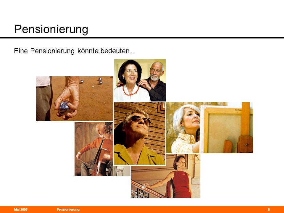 Pensionierung Eine Pensionierung könnte bedeuten... 31-Mar-17 Mai 2005