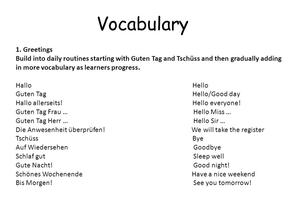 Vocabulary 1. Greetings.